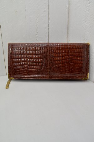 Kroko-Lackleder-Tasche Schultertasche Vintage Braun Gold Metallhenkel Glieder