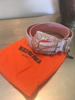 Nanni Leather Belt silver-colored-dusky pink