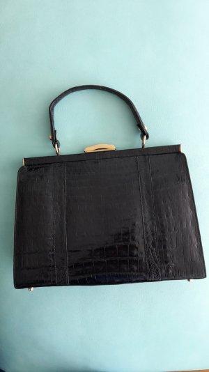 Kroko-Ledertasche Vintage schwarz