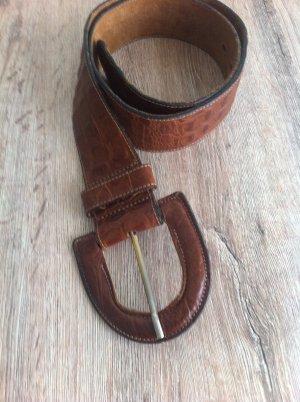 Krokoledergürtel in cognac , Gr 85, echtleder, selten getragen