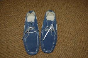 Sneakers met veters staalblauw-zilver Leer