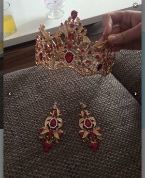Hair Accessory gold-colored-red
