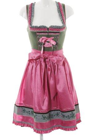 Krüger Dirndl pink-khaki mixed pattern wet-look