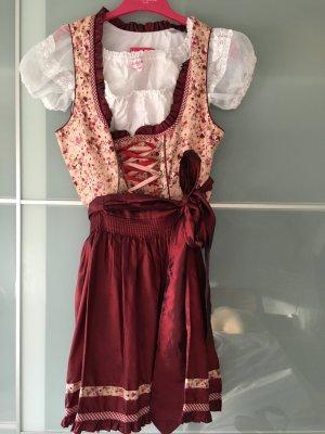 Krüger Dirndl Dirndl bordeau-rosé tissu mixte