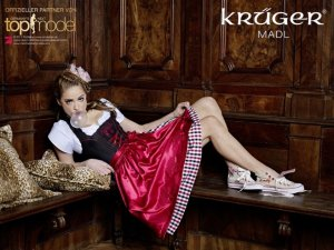 Krüger Madl Dirndl *34* & Bluse Snowflake - Germanys Next Topmodel Kollektion