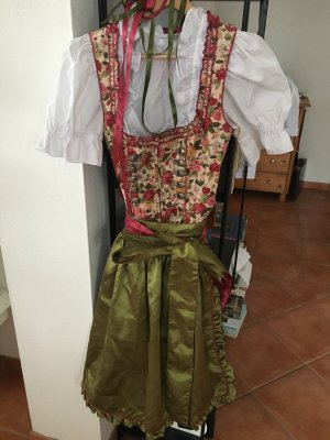 Krüger Madl Dirndl floral Blumen rot grün Kleid 32 34