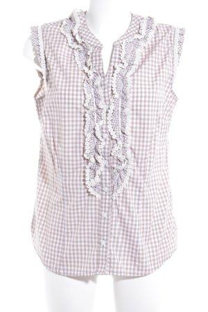 Krüger Folkloristische blouse beige-wit geruite print casual uitstraling