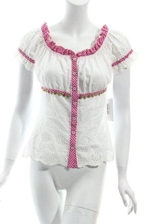 Krüger Trachtenbluse weiß-pink Blumenmuster Country-Look
