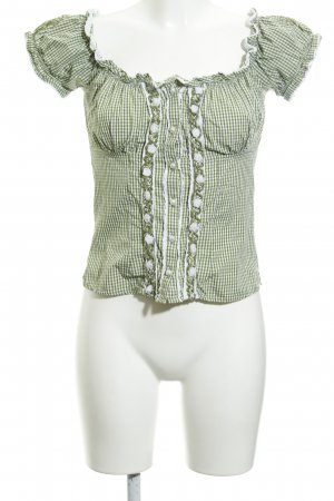Krüger Trachtenbluse grasgrün-weiß Karomuster extravaganter Stil