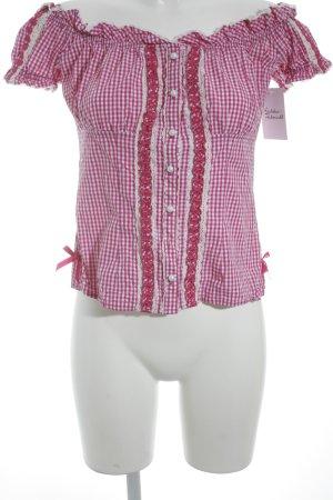 Krüger Folkloristische blouse magenta-wit geruite print middeleeuwse stijl