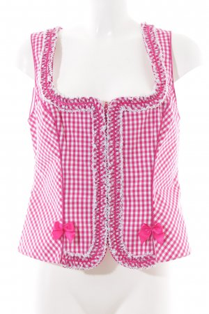Krüger Traditional Vest white-pink check pattern classic style