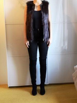 Vila Fake Fur Vest black brown-dark brown