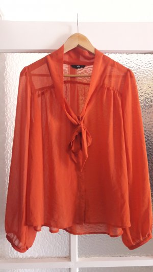 Zara Tie-neck Blouse dark orange polyester