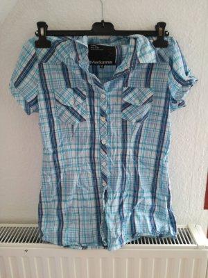 kürzärmliche Bluse in blau