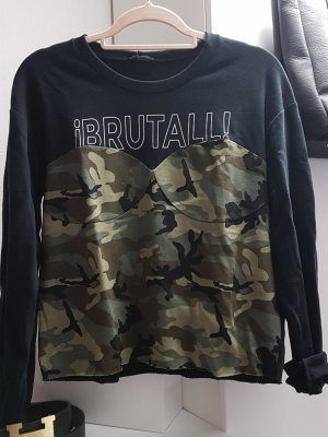 kürzeres Sweatshirt mit Camouflage Corsage Gr. M
