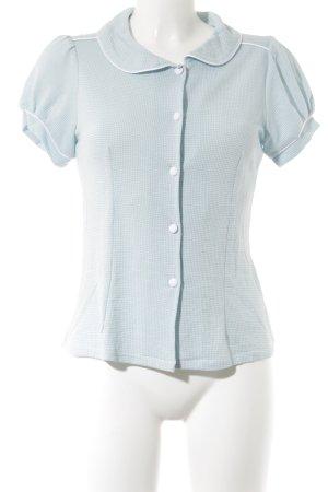 Küsten Luder T-Shirt babyblau-weiß Hahnentrittmuster Casual-Look