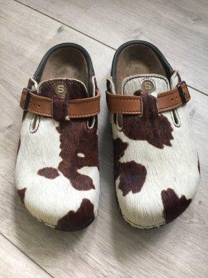 Footprints Pantoufles brun-crème pelage