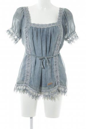 Kuhjo Kurzarm-Bluse kornblumenblau Casual-Look