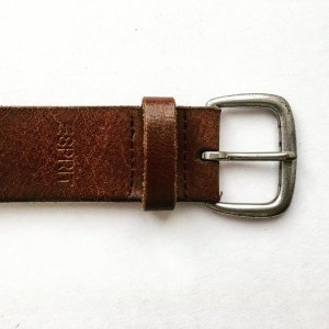 Esprit Leather Belt brown-silver-colored leather