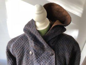 Wool Coat dark blue-cognac-coloured wool