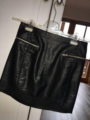 Falda de cuero de imitación negro Imitación de cuero