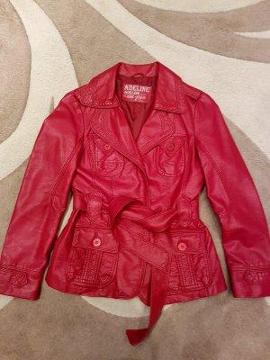 Veste en cuir synthétique rouge faux cuir