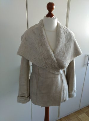 Kunstfell Fake Fur Jacke in Beige Gr.M