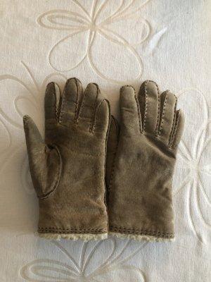 Fur Gloves brown-natural white