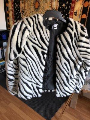 H&M Fur Jacket white-black