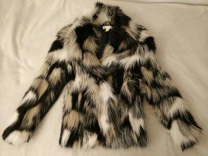 Kunstfell Jacke schwarz/grau/weiß/beige Gr. XS ungetragen!