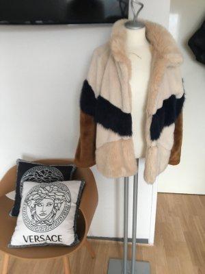 Zara Giacca di pelliccia crema-blu