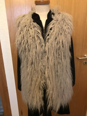 Fur vest silver-colored