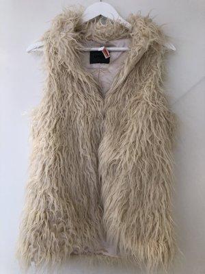 Only Vest van imitatiebont room-wolwit Kunstbont