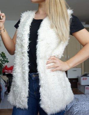 H&M Smanicato di pelliccia bianco-bianco sporco