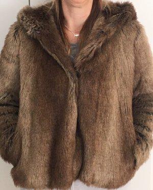 Zara Trafaluc Chaqueta con capucha marrón grisáceo