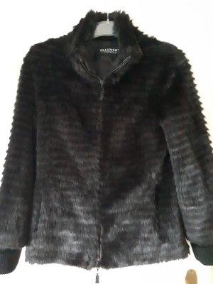 Kunstfelljacke Faux-fur-Jacke schwarz