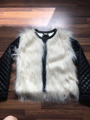 Fake Fur Jacket black-white