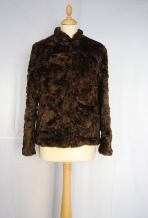 H&M Divided Fake Fur Jacket dark brown fake fur