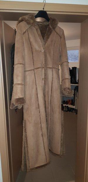 no name Fake Fur Coat cognac-coloured