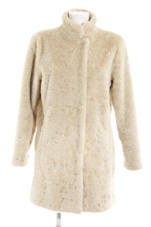 Abrigo de piel sintética crema mullido