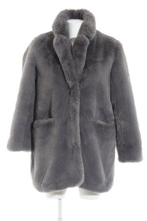 Cappotto in eco pelliccia grigio scuro soffice