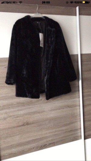 Zara Trafaluc Fake Fur Coat black
