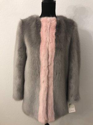 Abrigo de piel sintética gris claro-rosa claro