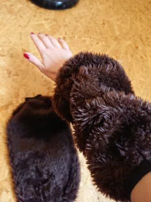 Legwarmers dark brown fake fur
