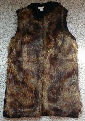 H&M Fake Fur Vest black-brown