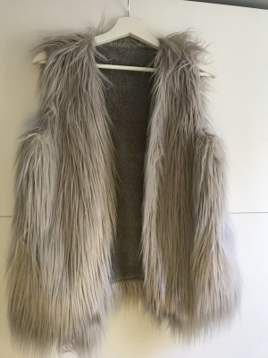 Fur vest light grey-silver-colored