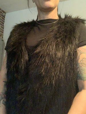 Tom Tailor Vest van imitatiebont zwart