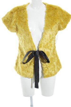 Vest van imitatiebont donkergeel straat-mode uitstraling