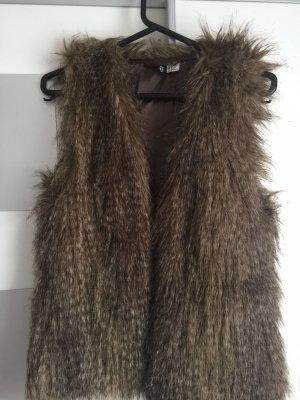 H&M Gilet en fausse fourrure bronze-brun noir