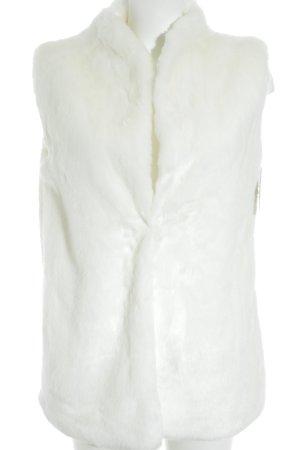 Vest van imitatiebont wolwit casual uitstraling